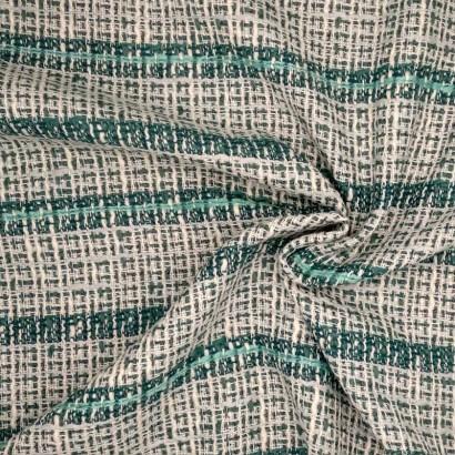 Tela de algodón raya blanca y verde arrugada