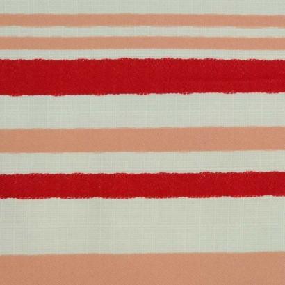 Tela de algodón cruda raya roja y nude 2