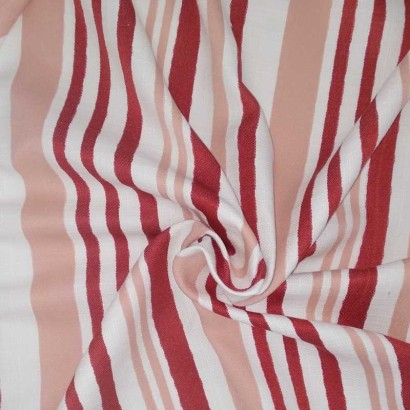 Tela de algodón cruda raya roja y nude arrugada 1