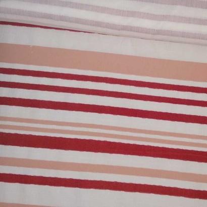 Tela de algodón cruda raya roja y nude tubo