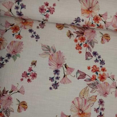 Tela de algodón blanca flores rosas, naranjas y moradas tubo