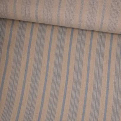 Tela de algodón raya cruda y azul tubo