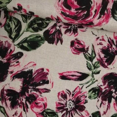 Tela de algodón color piedra flores rosas tubo