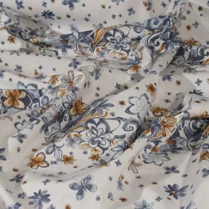 Tela de algodón blanca franjas de flores  arrugada