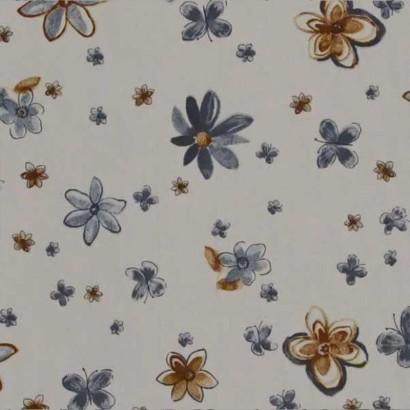 Tela de algodón blanca franjas de flores  3