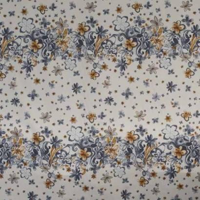 Tela de algodón blanca franjas de flores  1