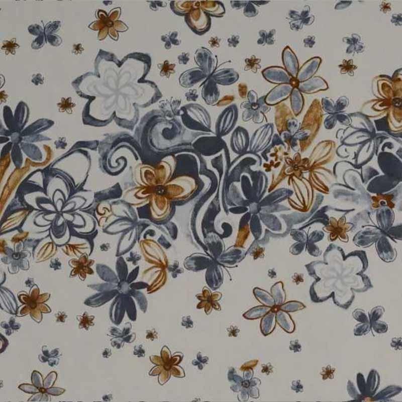Tela de algodón blanca franjas de flores  2