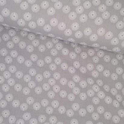 Tela de algodón gris con flor blanca tubo