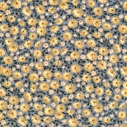 Tela de pana gris con flor amarilla