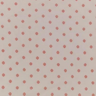 Tela de pana blanca con rombo rojo 1