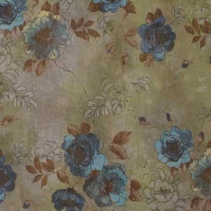 Tela de flores turquesa 1