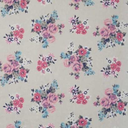 Tela de lino de flores rosas 1