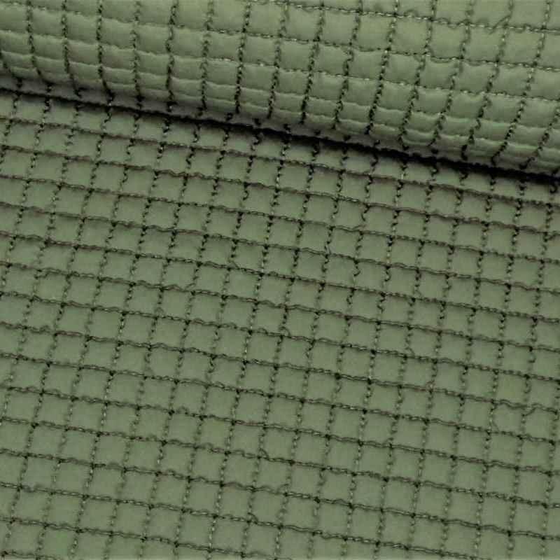 Tela de gofre acolchada verde lomo