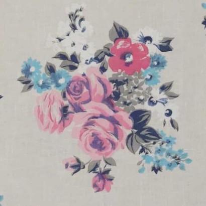 Tela de lino de flores rosas 2