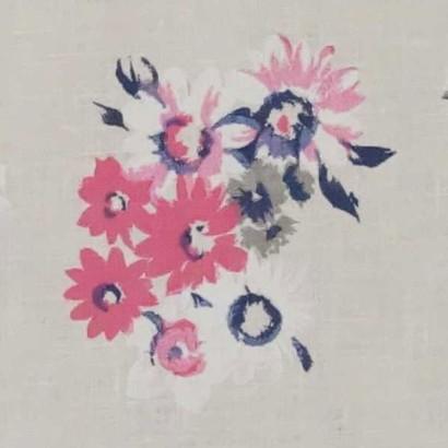 Tela de lino de flores rosas 3