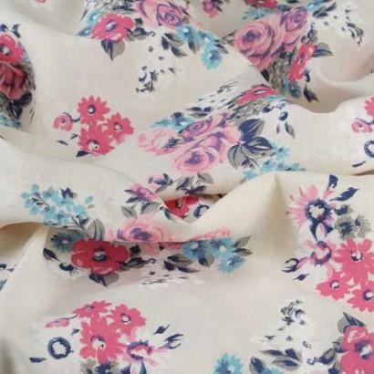 Tela de lino de flores rosas arrugada