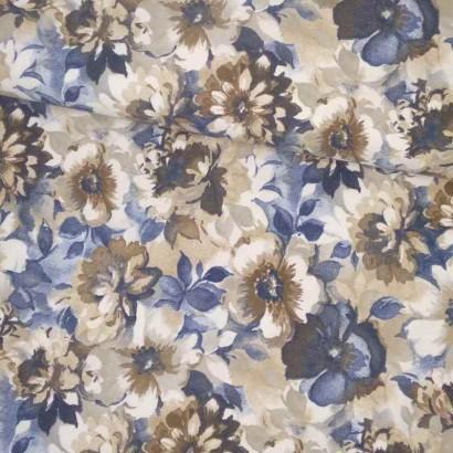 Tela de algodón gris flores azules y beiges lomo