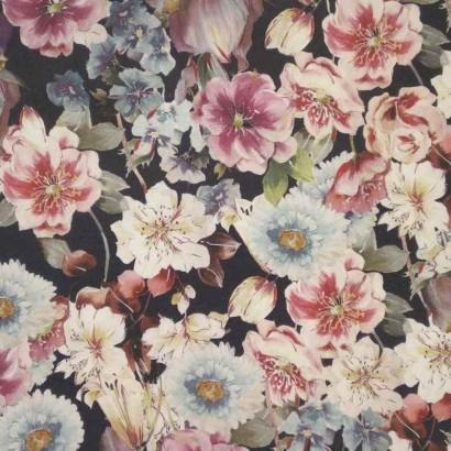 Tela de algodón negra flores azules y rosas lisa