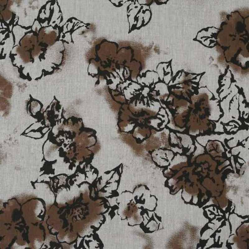 Tela de lino de flores marrones 1
