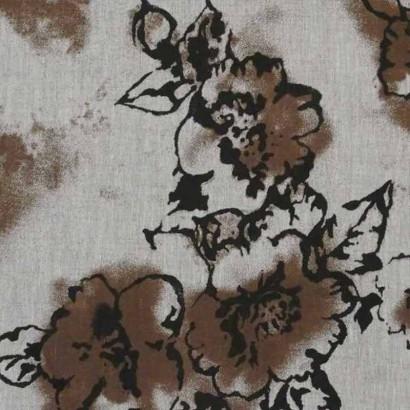 Tela de lino de flores marrones 3