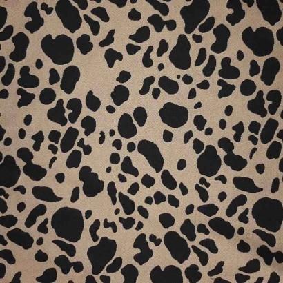 Tela de viscosa print animal dorado y negro