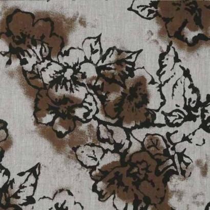 Tela de lino de flores marrones 4