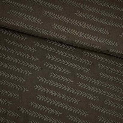 Tela de poliestrer negra con dibujo de trigo lomo