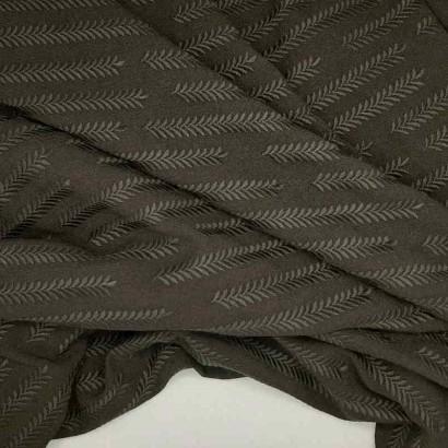 Tela de poliestrer negra con dibujo de trigo arrugada