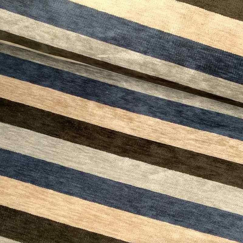 Tela de chenilla raya azul lomo