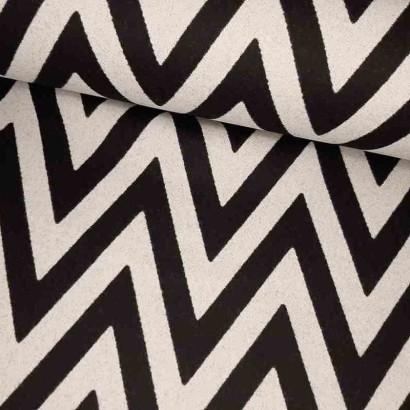 Tela de zig-zag blanco y negro lomo