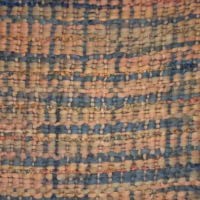 Tela de tramado de hilo en azules y naranjas
