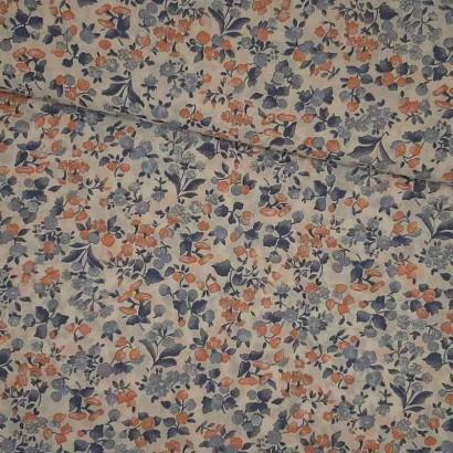 Tela de algodón flor naranja y azul lomo