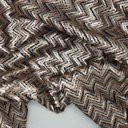 Tela de lentejuela zigzag arrugada