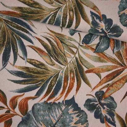 Tela de tapicería hojas grandes lomo