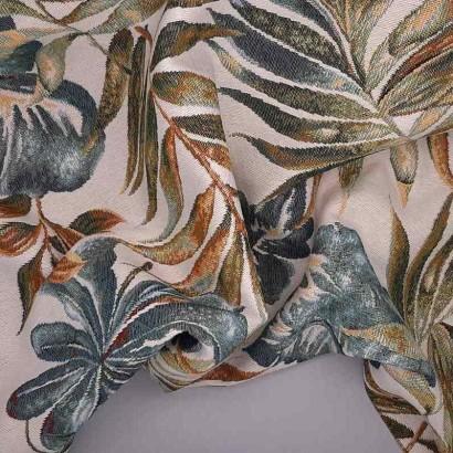 Tela de tapicería hojas grandes arrugada