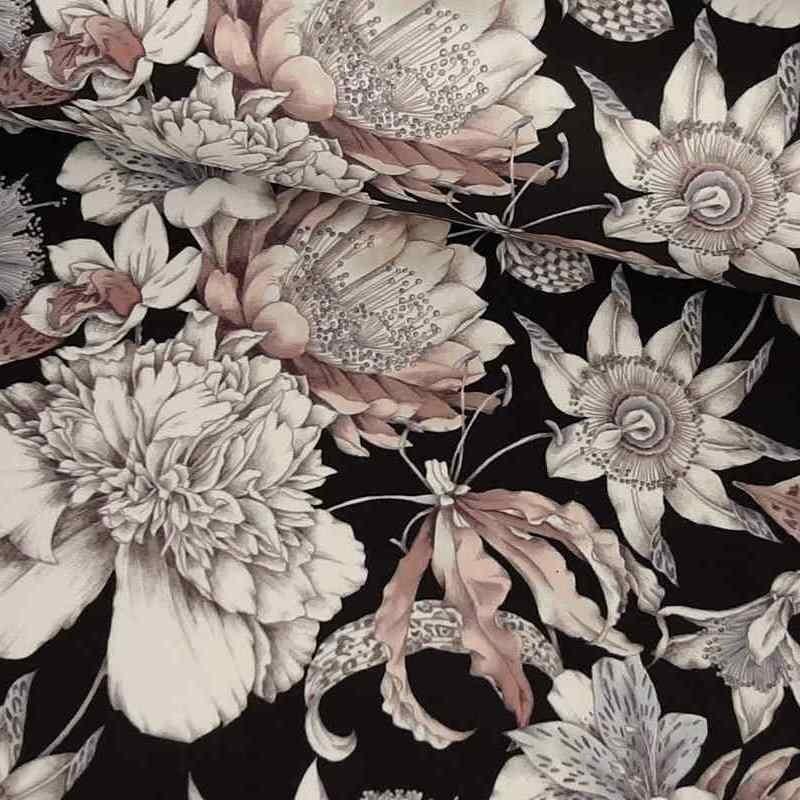 Tela de terciopelo flores lomo