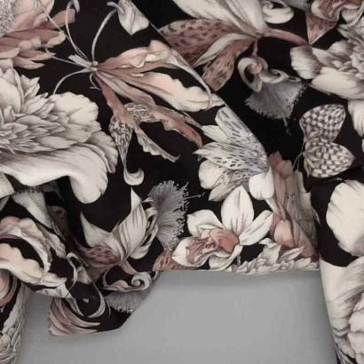 Tela de terciopelo flores arrugada