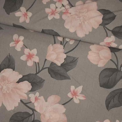 Tela de sábana flor rosa