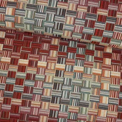 Tela de tapicería cuadros dobles de colores lomo
