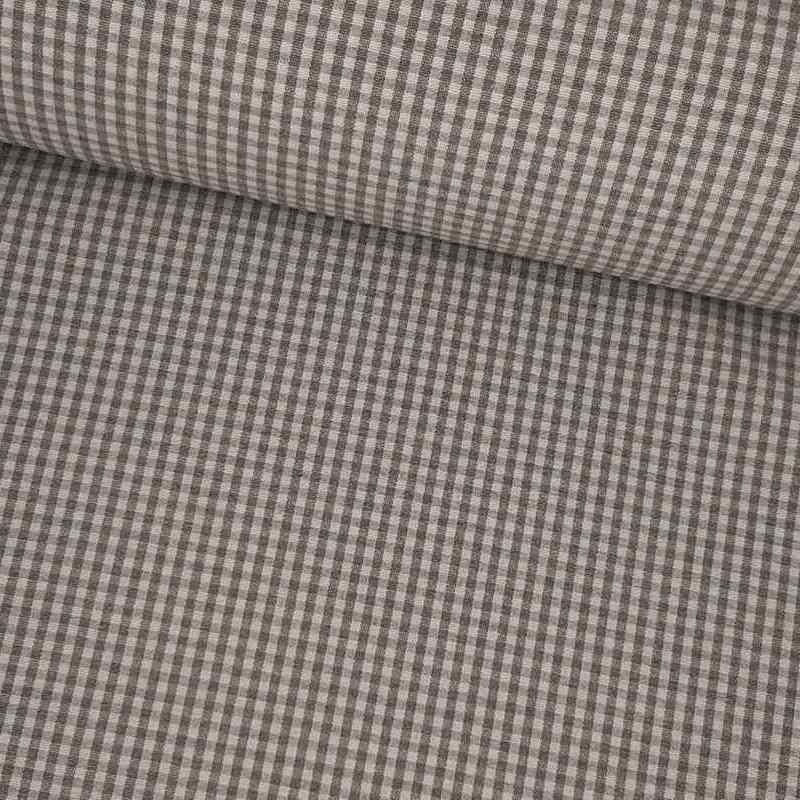 Tela de loneta vichy cuadro pequeño gris lomo