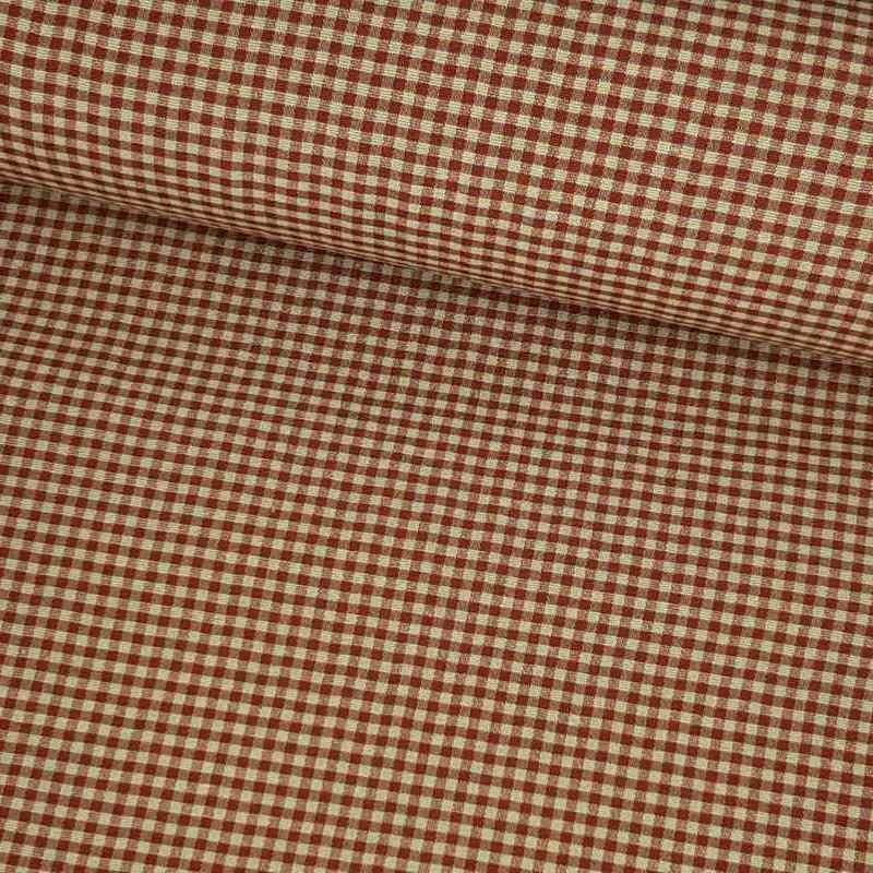 Tela de loneta vichy cuadro pequeño rojo lomo