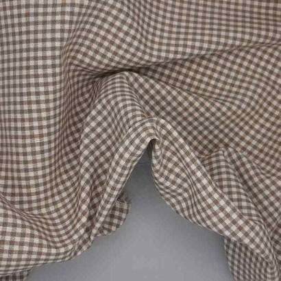 Tela de loneta vichy cuadro pequeño beige arrugada