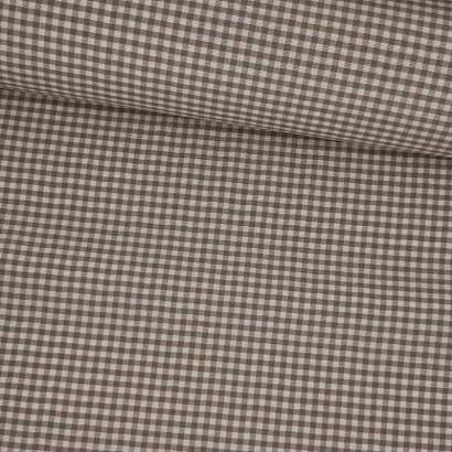 Tela de loneta vichy cuadro pequeño beige lomo