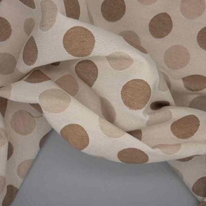 Tela de tapicería motas beiges arrugada