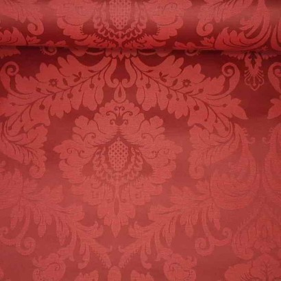 Tela de mantel encerado adamascado rojo lomo