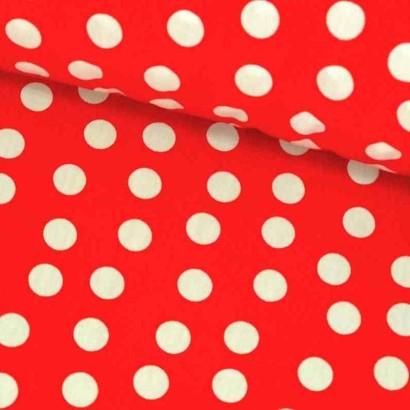 Tela de algodón de topos 1cm roja lomo