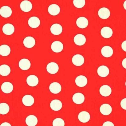 Tela de algodón de topos 1cm roja