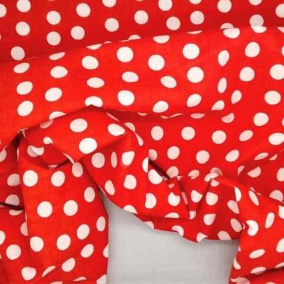 Tela de algodón de topos 1cm roja arrugada