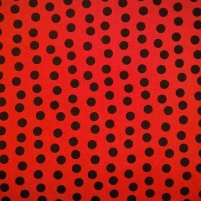 Tela de algodón de topos desordenados rojo y negro