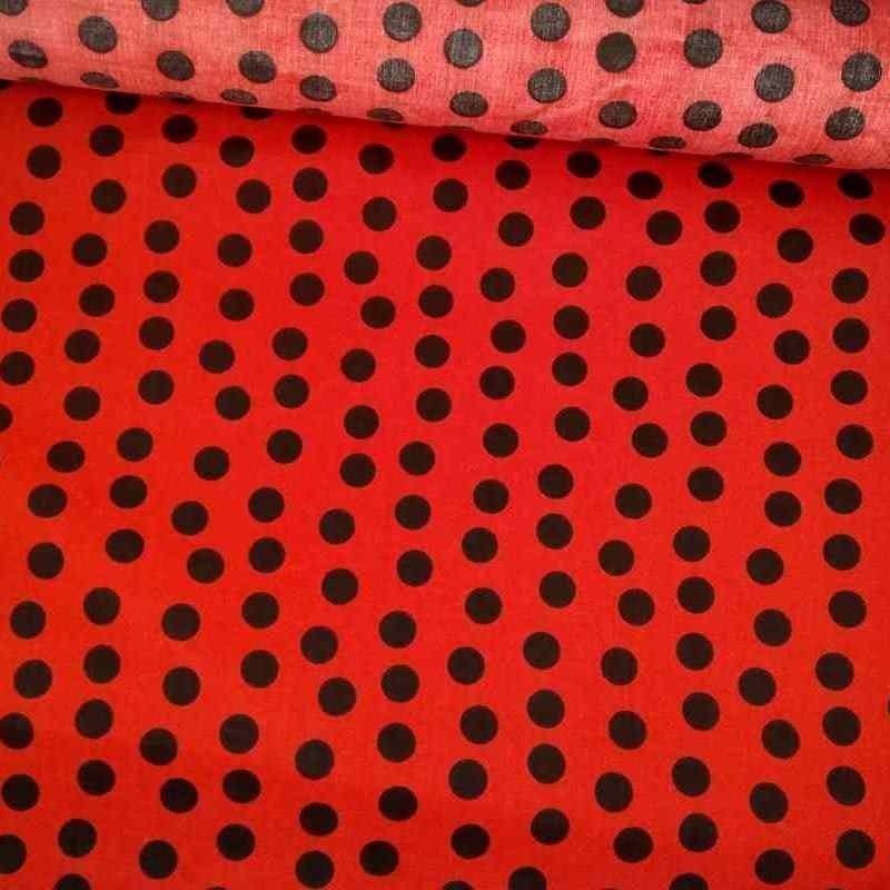 Tela de algodón de topos desordenados rojo y negro lomo